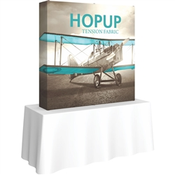 5ft X 5ft Straight HopUp 2x2 Tabletop Fabric Display with Full Fitted Graphic  is a lightweight and versatile trade display solution for users who need an exhibit that sets up in seconds. Portable, Vibrant Table Top Displays