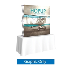 5ft x 5ft HopUp Straight Tabletop Display Front Graphic Only. HopUp Display has a light weight, heavy duty frame that holds a fabric graphic mural. Durable stretch fabric graphic stays attached to the HopUp frame for fast and efficient use.