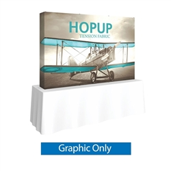 Full Fitted Graphic for 8ft HopUp Straight Tabletop Display. HopUp Display has a light weight, heavy duty frame that holds a fabric graphic mural. Durable stretch fabric graphic stays attached to the HopUp frame for fast and efficient use.