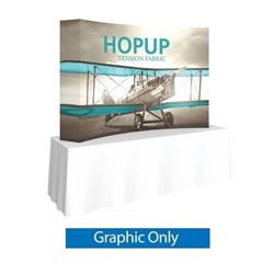 Full Fitted Graphic for 8ft HopUp Curved Tabletop Display. HopUp Display has a light weight, heavy duty frame that holds a fabric graphic mural. Durable stretch fabric graphic stays attached to the HopUp frame for fast and efficient use.