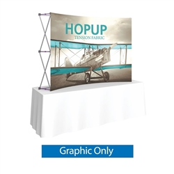 Front  Graphic for 8ft HopUp Curved Tabletop Display. HopUp Display has a light weight, heavy duty frame that holds a fabric graphic mural. Durable stretch fabric graphic stays attached to the HopUp frame for fast and efficient use.