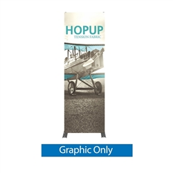 Full Fitted Graphic for 30in HopUp Straight 1x3 Tension Fabric Display. It has a light weight, heavy duty frame that holds a fabric graphic mural. It sets up in seconds and can be packed away just as quickly. Durable stretch fabric graphic stays attached