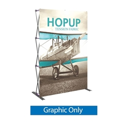 Front Graphic for 5ft Hopup Floor 2x3 Straight Fabric Display. 5ft Hop Up Back Wall Trade Show Display mixes state-of-the-art design with unmatched convenience. Printed fabric trade show displays, exhibit booths and accessories