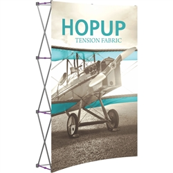 5ft Orbus Hopup Floor 2x3 Curved Fabric Trade Show Display with Front Graphic is lightweight, highly portable, and requires almost no set-up time! Fabric popup displays are the FASTEST booth on the market to setup. The one piece Pop Up Display.