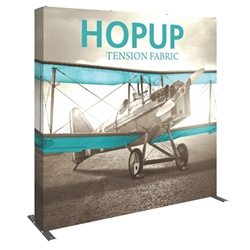 8ft Hopup Floor 3x3 Straight Fabric Display with Full Fitted Graphic is a simple yet attractive trade show floor backwall exhibit. The durable fabric graphic image stays attached to the aluminum frame for fast and efficient use