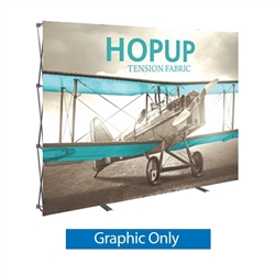 Front Graphic 10ft Hopup 4x3 Straight Fabric Display. Hopup is a lightweight, heavy duty pop up frame to support an integrated fabric tension graphic mural. HopUp Tension Fabric Displays Ideal For Trade Shows & Retail Industry
