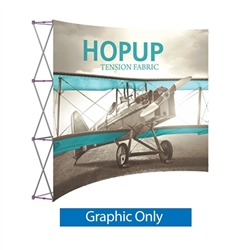 Front Graphic 10ft Hopup 4x3 Curved Fabric Display. Hopup is a lightweight, heavy duty pop up frame to support an integrated fabric tension graphic mural. HopUp Tension Fabric Displays Ideal For Trade Shows & Retail Industry
