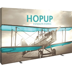 12ft Hopup Floor 5x3 Straight Fabric Display with Full Fitted Graphic is the largest among Hop Up trade displays, making it the perfect way to stand out against the competition. HopUp has a light weight, heavy duty frame that holds a fabric graphic mural