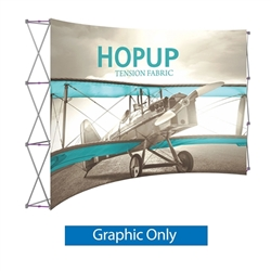 Front Graphic for 12ft Hopup 5x3 Curved Display. This Hop up is the largest among Hop Up trade displays, making it the perfect way to stand out against the competition. HopUp has a light weight, heavy duty frame that holds a fabric graphic mural