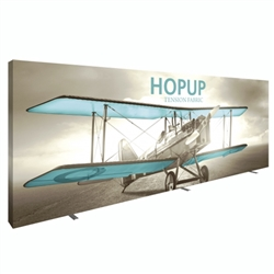 15ft x 8ft Hopup Floor 6x3 Straight Fabric Backwall Display with Full Fitted Graphic is the largest among Hop Up trade displays, making it the perfect way to stand out against the competition.