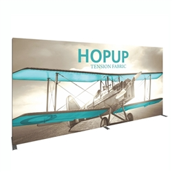 15ft x 8ft Hopup Floor 6x3 Straight Fabric Backwall Display with Front Graphic is the largest among Hop Up trade displays, making it the perfect way to stand out against the competition.