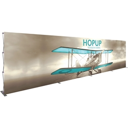 30ft x 8ft Hopup Floor 12x3 Straight Fabric Display with Front Fitted Graphic is the largest among Hop Up trade displays, making it the perfect way to stand out against the competition.