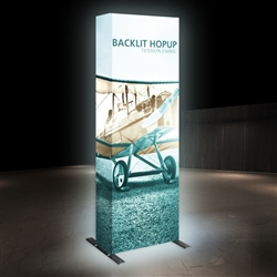 10ft Backlit HopUp 4x3 Trade Show Display Kit with Fabric Print has a light weight, heavy duty frame that holds a fabric graphic mural. 10 foot backlit Hop Up display is a great upgrade to our standard Hop Up line trade show exhibits.