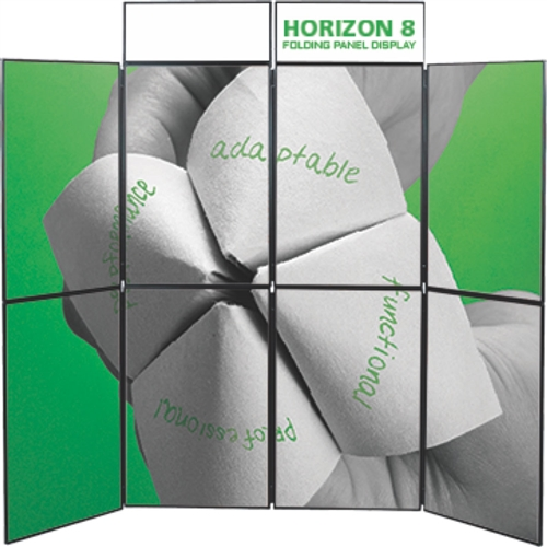 8ft Horizon 8 Folding Display Panel System is a quick to set up, easy to use display system created specifically to hold your custom graphics. Available in several shapes and sizes, you can find the Horizon that is right for you.