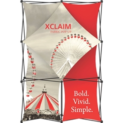5ft Xclaim Full Height Fabric Popup Display Kit 01 with Full Fabric Graphics. Portable displays and exhibits. Several different styles are available, including pop up frames with stretch fabric or fold up panels with custom graphics.