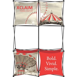 5ft Xclaim Full Height Fabric Popup Display Kit 02 with Full Fabric Graphics. Portable displays and exhibits. Several different styles are available, including pop up frames with stretch fabric or fold up panels with custom graphics.
