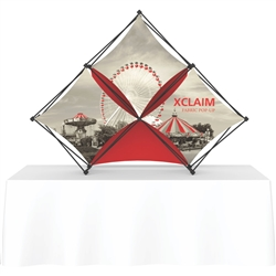 8ft Xclaim Tabletop 3 Quad Pyramid Fabric Popup Display Kit 02 with Full Fabric Graphics. Portable tabletop displays and exhibits. Several different styles are available, including pop up frames with stretch fabric or fold up panels