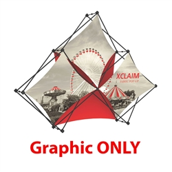 Replacement Fabric for 8ft Xclaim Tabletop 3 Quad Pyramid Fabric Popup Display Kit 02. Portable tabletop displays and exhibits. Several different styles are available, including pop up frames with stretch fabric or fold up panels