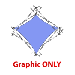 2,5ft Xclaim 1 Quad  Pyramid Double Twist Diamond Fabric Popup Display - Graphic Only. Portable displays and exhibits. Several different styles are available, including pop up frames with stretch fabric or fold up panels