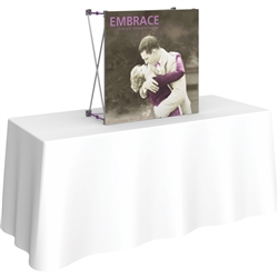 2,5ft Embrace Tabletop Push-Fit Tension Fabric Display with Full Fabric Graphics. Portable tabletop displays and exhibits. Several different styles are available, including pop up frames with stretch fabric or fold up panels