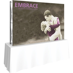 8ft Embrace Square Tabletop Push-Fit Tension Fabric Display with Front Graphic. Portable tabletop displays and exhibits. Several different styles are available, including pop up frames with stretch fabric or fold up panels