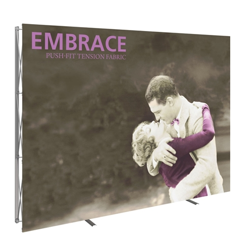 10ft Embrace Full Height Push-Fit Tension Fabric Display with Front Graphic. Portable tabletop displays and exhibits. Several different styles are available, including pop up frames with stretch fabric or fold up panels