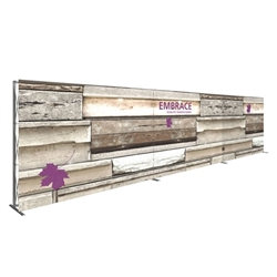 30ft Embrace Full Height Push-fit Tension Fabric Display  - Single-Sided Front Graphic Only. Portable tabletop displays and exhibits. Several different styles are available, including pop up frames with stretch fabric or fold up panels