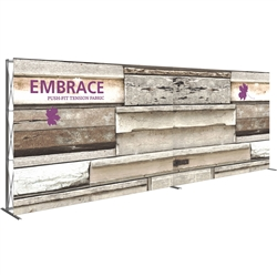 20ft Embrace Full Height Push-fit Tension Fabric Display with Single-Sided Front Graphic. Portable tabletop displays and exhibits. Several different styles are available, including pop up frames with stretch fabric or fold up panels