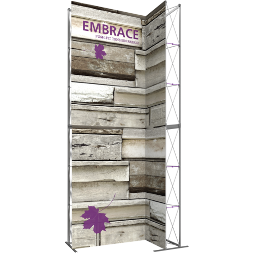 7ft Embrace Wide Stacking Push-Fit Tension Fabric Display with Double-Sided Front Graphic. Portable tabletop displays and exhibits. Several different styles are available, including pop up frames with stretch fabric or fold up panels
