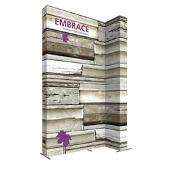 10ft Embrace Wide Stacking Push-Fit Tension Fabric Display with Double-Sided Front Graphic. Portable tabletop displays and exhibits. Several different styles are available, including pop up frames with stretch fabric or fold up panels