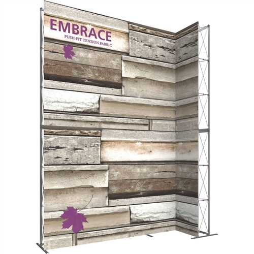 12ft Embrace Wide Stacking Push-Fit Tension Fabric Display with Single-Sided Front Graphic. Portable tabletop displays and exhibits. Several different styles are available, including pop up frames with stretch fabric or fold up panels
