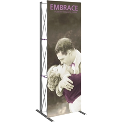 2.5ft Embrace Tabletop Push-Fit Tension Fabric Display with Front Graphic. Portable tabletop displays and exhibits. Several different styles are available, including pop up frames with stretch fabric or fold up panels