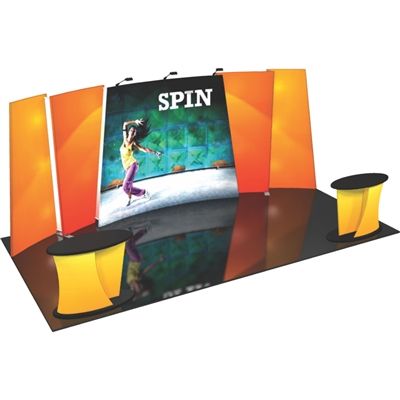 Flip 20ft Tension Fabric Display Kits. FLIPft 20ft exhibits incorporate layered, staggered walls that are connected to create a unique, dimensional and versatile display.