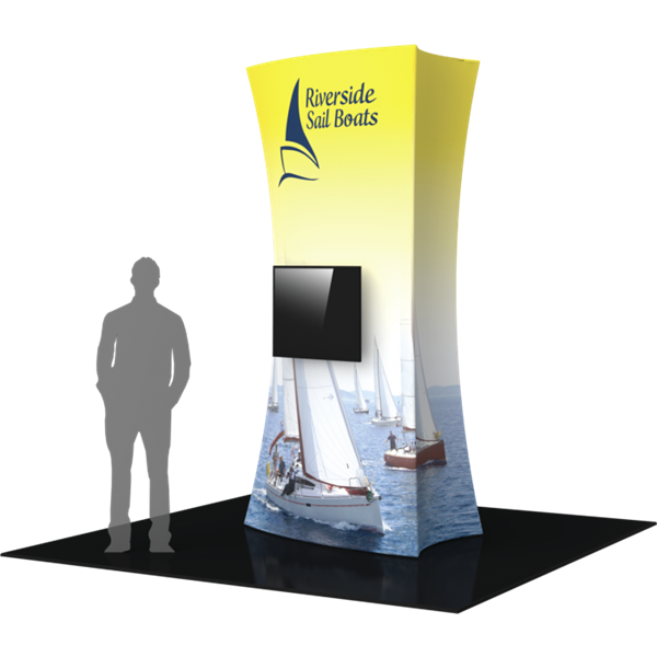 10ft Formulate Fabric Tower with Monitor Mount are highly effective 360-degree media enabling you to present a wide variety of solutions. Tower stretch fabric tower structures are designed to impress in in lobbies, showrooms, retail and other venues.