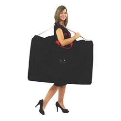 Hero Storage Bag .Optional storage bag for Hero exhibit panels Max capacity = 6 panels per bag. This zippered black nylon bag has red carry handle and shoulder strap. While designed for the Horizon 6 panel display it makes a perfect bag for most anything
