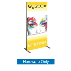 Hardware for 6ft x 3ft Backwall Trade Show Fabric Display. Vector Frame 02-R Backwall Display is an indoor aluminum extrusion frame system. Each kit includes extruded aluminum frame, feet, assembly tool, single side dye sublimated fabric graphics.