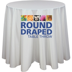 30in Round Premium Dye Sub Table Throw Draped Graphic - Stylish and elegant, table throws professionally present your company image at events and trade shows. These premium quality polyester twill table throws are easy to care for and can be easily washed