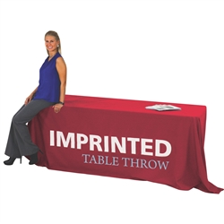 8ft Economy Imprinted Table Throw - 1 Color - Stylish and elegant, table throws professionally present your company image at events and trade shows. These premium quality polyester twill table throws are easy to care for and can be easily washed. The stai