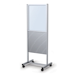 25in x 70in  Portable Slatwall Stand Two-Sided with Frame for the Exhibit and P.O.P Industries, Retail, Factory, Garage & More. These sleek, anodized aluminum Slatwall Stands from Testrite are a sharp, modern display solution for any trade fair exhibition