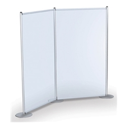 Backwall Privacy Banner Stands Pole Pockets Graphic -  Holds 3 Graphics. The portable, lightweight aluminum base allows quick graphic changes. Great for exhibitor, event and retail environments.Rigid Graphic Holders can hold variety of signage