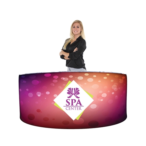 EZ Fabric Counter Curved TRIPLE Graphic Package, developed to combine convenience and show. Having a reception counter or podium is key in drawing the visitors attention to your display or exhibit at any trade show or event.