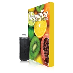 5ft x 7.5ft Ready Pop PopUp Straight Single-Sided Graphic Package With Endcaps Display. Stretch fabric pop up displays for tradeshow booth exhibits.Ready Pop trade show fabric pop-up backwall exhibit booth for your next trade show or event.