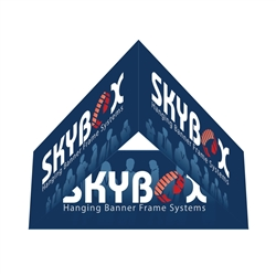 Skybox Triangle 10ft x 21in & Hanging Tension Fabric Banner (Double Sided) is a must have at your next trade show. These extra large hanging banners are produced from high quality fabric and enable you to been seen from practically anywhere