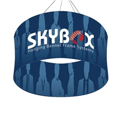 Skybox Circle 5ft x 36in & Hanging Tension Fabric Sign (Double Sided) is a must have at your next trade show. Circle hanging banners on top booth or exhibit enable you to been seen from practically anywhere on trade show or convention
