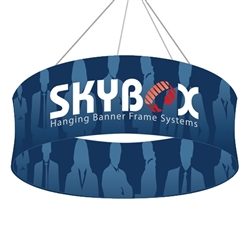 Skybox Circle 12ft x 24in Hanging Tension Fabric Sign (Double Sided) is a must have at your next trade show. Circle hanging banners on top booth or exhibit enable you to been seen from practically anywhere on trade show or convention