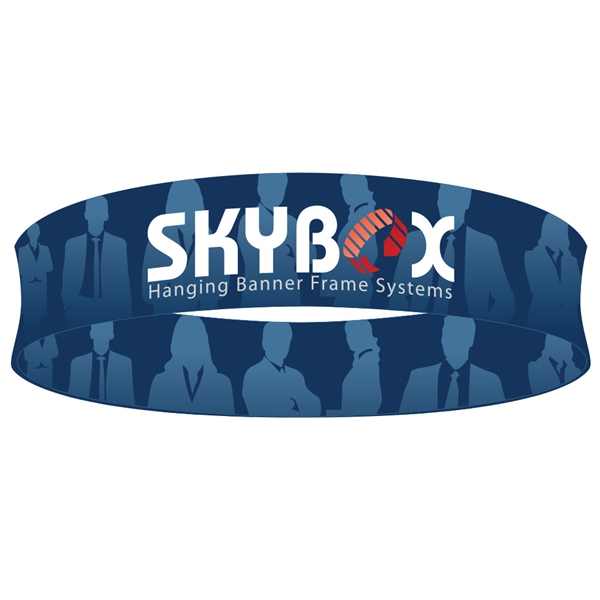 Skybox Circle 20ft x 48in Hanging Tension Fabric Sign (Double Sided) is a must have at your next trade show. Circle hanging banners on top booth or exhibit enable you to been seen from practically anywhere on trade show or convention