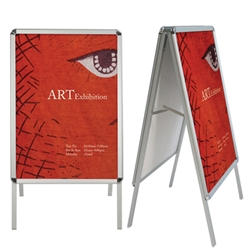 Promote your business with A-Frame Sidewalk Sign Snap Frame Display Hardware Only. A great selection of weather resistant, outdoor signs,  Flying Flag Pole Banner Displays, Outdoor Banner Stands. Buy a sidewalk sign frame, real estate or A-frame curb sign