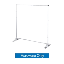 "Jumbo Banner Stand SIlver Small Tube Stand Only. This particular selection has smaller tubes that measure 1 1/8"""" in diameter and connect together on all four sides. The fabric graphic slides onto the top and bottom cross bars, and displays tautly"