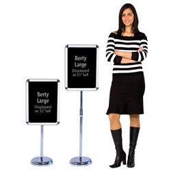 The Berty Snap Frame Display allows a small sign to be displayed almost anywhere. No need to post on a wall just set up the freestanding display where needed, open the snap frame and place your sign. It securely holds an 11.75in x 16.5in sign and telescop