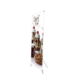 32in x 79in Grasshopper Banner Stand Medium w/ Banner allows your customers to quickly set up their graphics. Simply unfold the Banner Stand display and attach a grommeted graphic. Allows for an upscale wood look for a lower cost.